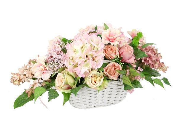 DUŻA pojedyncza WIĄZANKA stroik w białym koszyku WIOSENNA dużo kwiatów