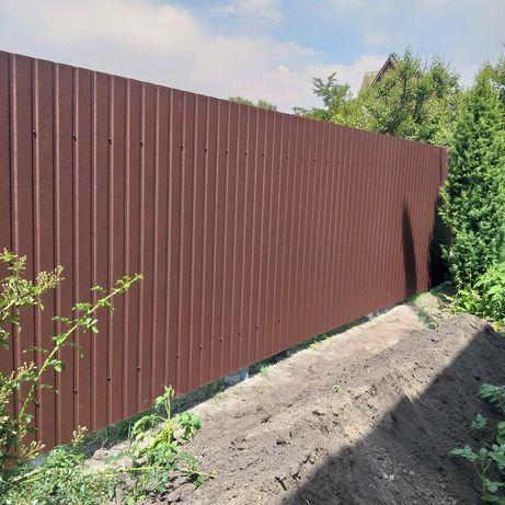 Забор из профнастила, евроштахета, жалюзи, ранчо, 3D сетки... ворота