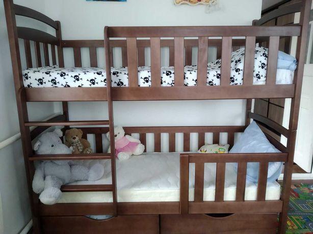 Купить детскую двухъярусную кровать кроватку трансформер дерево