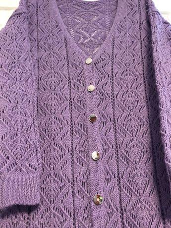 Sweter lila fiolet , ażur, długi rozpinany na srebrne guziki