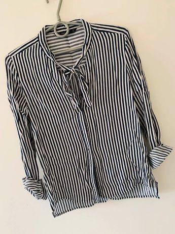 Zara koszula w paski zawiązywana na szyji