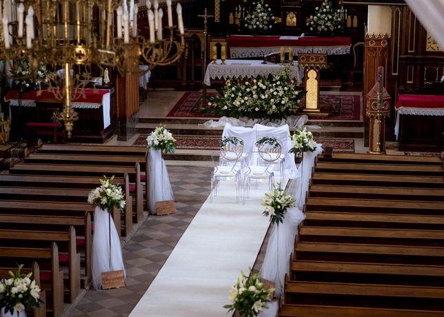 Biały gruby prawdziwy dywan do kościoła ślub wesele dekoracje