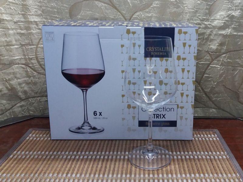 Бокалы фужеры для вина на 580мл Набор 6шт Богемия ДораСтрикс Запорожье - изображение 1