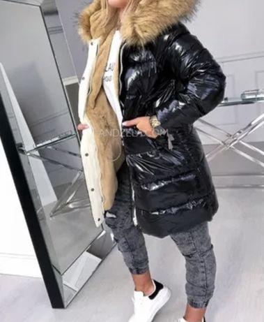 Zimowa ciepła kurtka metaliczna lakierowana kożuszek futerko parka