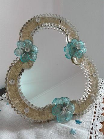 Lindo Espelho de mesa em Vidro Murano Veneziano