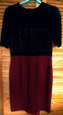 Sukienka bordowo czarna elegancka nowa tanio