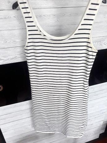bawełniana biała sukienka w czarne paseczki na ramiączkach M paski