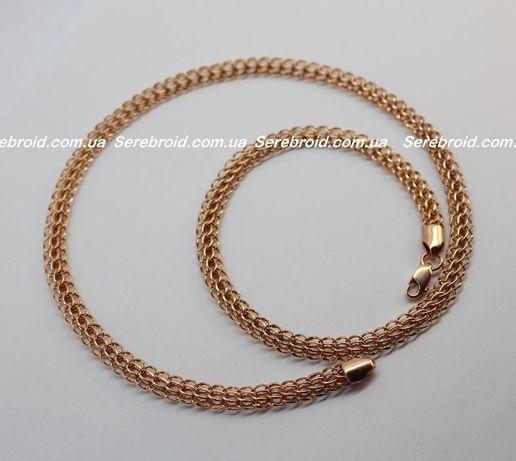 Позолоченная серебряная цепь Венеция (Питон). Серебро 925 Позолота 585