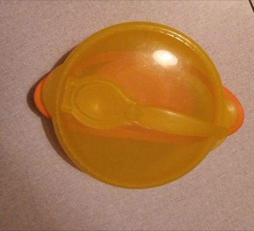 Тарелка на присоске с крышкой и ложкой Baby Team(Беби Тим)