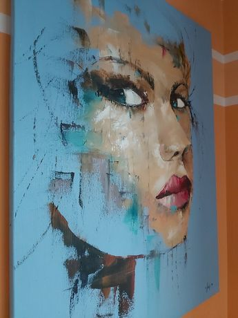 """Obraz Alfreda Anioła zatytułowany """"Face of a girl""""."""