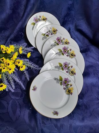 M.Z. Czechoslovakia Старорольский фарфор деколь набор тарелок винтаж