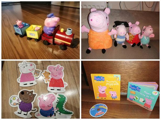 Pociąg świnki peppy + bajki +książeczki+ puzzle+maskotki