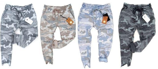 Włoskie MORO dresowe spodnie miejskie strzępione napisy baggy KOLORY