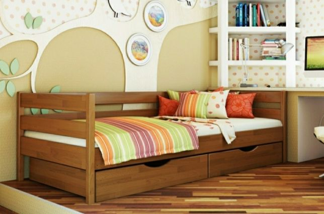 Кровать односпальная  90 на 190 см Нота Эстелла, натуральное дерево