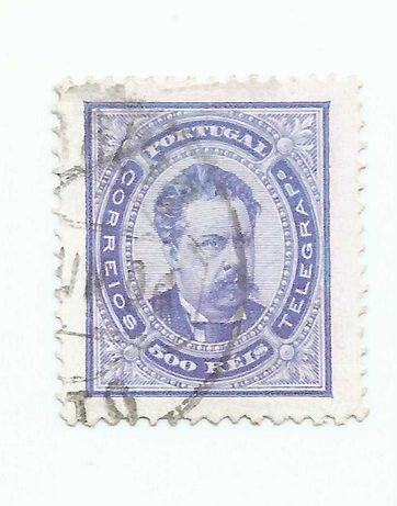 Selo Portugal – D. Luís I de frente, 500 reis – 1884 a 1887 - Usado