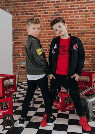 Kurtka Bomberka Czarna + T-shirt Czerwony! All For Kids! 152-158