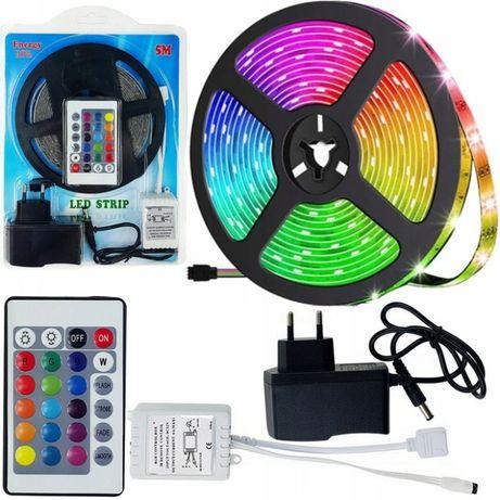 Wodoodporna TAŚMA LED SMD RGB 5M Kolorowa + PILOT