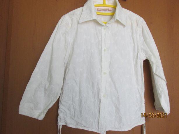 Біла блузка для дівчинки з довгим рукавом