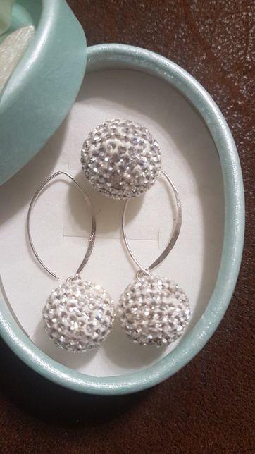Biżuteria srebrna kolczyki i zawieszka svarowski, swarowski