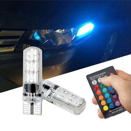 Lâmpada LED 2 pcs RGB T10 W5W Automóvel
