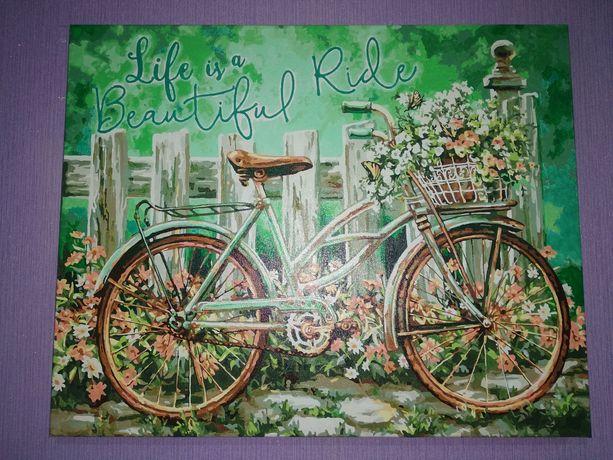 Идейка готовая картина по номерам велосипед прогулка цветы жизнь ретро