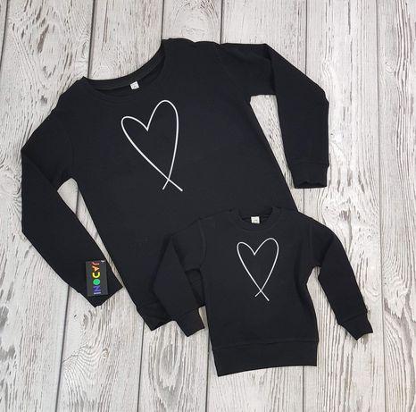 Bluza czarna z nadrukiem serca Nowa bawełniana