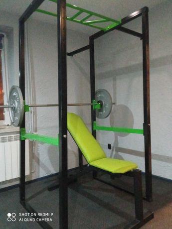 siłownia ławeczka gryf obciążenie 271kg marbo klatka hantle