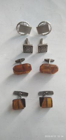 Запонки серебро СССР янтарь