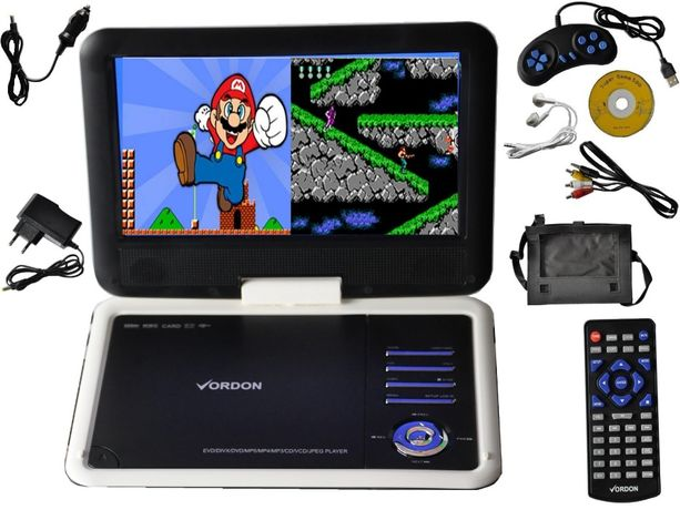 Przenośne DVD VORDON 10,2' CD USB SD GRY AV Konsola Dzieci na Prezent