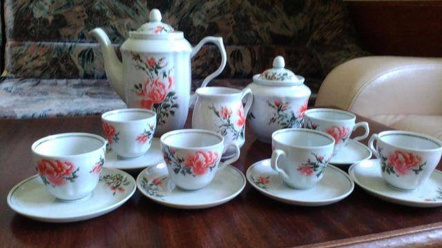 Барановский фарфоровый кофейный сервиз на 6 персон, 15 предметов