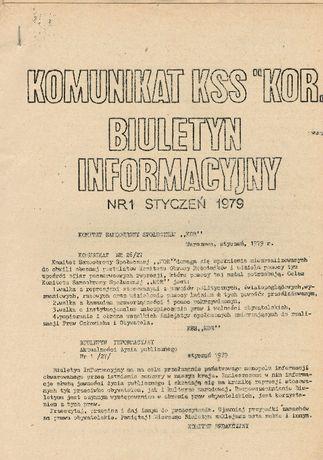 """Komunikat KSS """"KOR"""" ORAZ Biuletyn informacyjny nr 1 (styczeń 1979 r.)"""