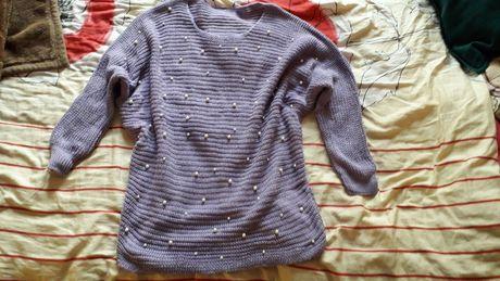 Sweterek fiolet oversize + perełki xl
