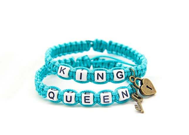 Pulseiras queen and king - Cor azul