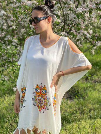 Летняя пляжная накидка платье с красивым ярким принтом Совы