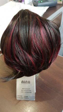 Treska doczepka włosy sztuczne bordo czerwone baleyage czarne