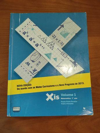 """Manuais """"Xis 7"""" - matemática 7⁰ ano volumes 1 e 2"""
