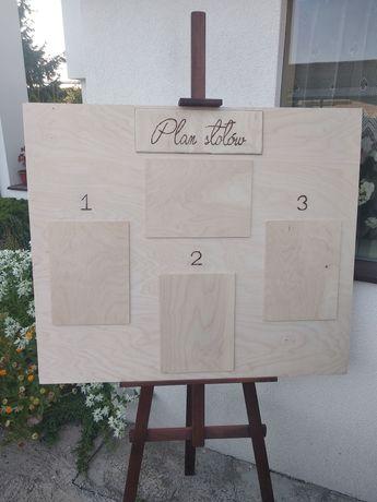 Plan stołów lista gości wesele dekoracje boho drewniane