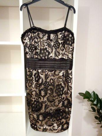Czarna sukienka ramiączka koronka S