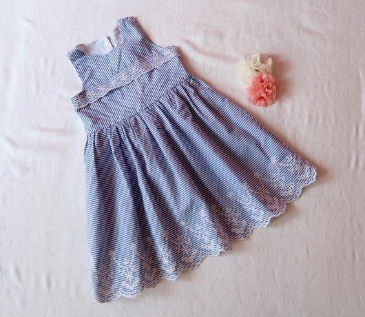Sukienka koronka paski błękitne,jak H&M 92 jak Nowa