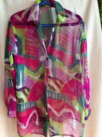 Szyfonowa bluzka z długim rękawem rozmiar 40/42 pièkne kolory.