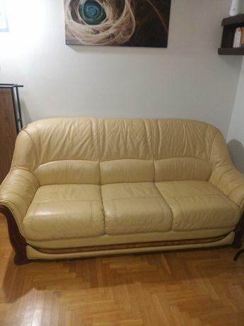 Sofa skórzana 3 osobowa kremowa