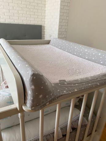 Przewijak na łóżeczko drewniany biały + wkład + pokrowiec