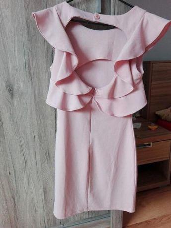 sukienka nowa s 36 pudrowy róż odkryte plecy falbanki