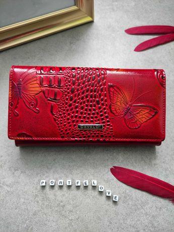 Damski skórzany portfel, skóra naturalna, tłoczony wzór