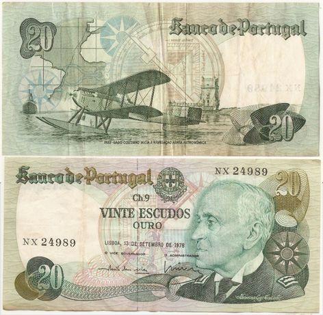 Stare banknoty Escudos (Portugalia) / 10 Ruppes (Sri Lanka)