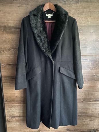 Wełniany płaszcz z kołnierzem futrzanym elegancki klasyczny 3xl xxl
