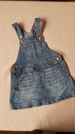 Sukienka ogrodniczka Jeans H&M 80 9-1