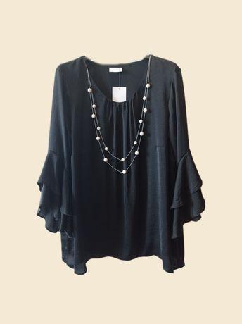 Blusa preta senhora com oferta de colar