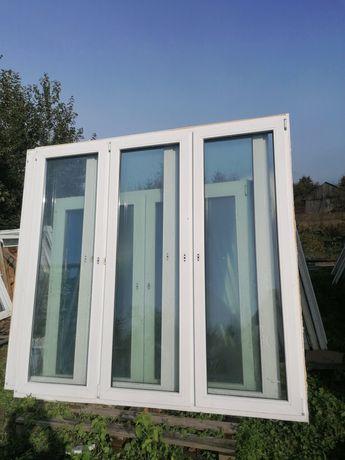 Okno PCV 220 x 210 drzwi balkonowe kolor zewnętrzny niebieski