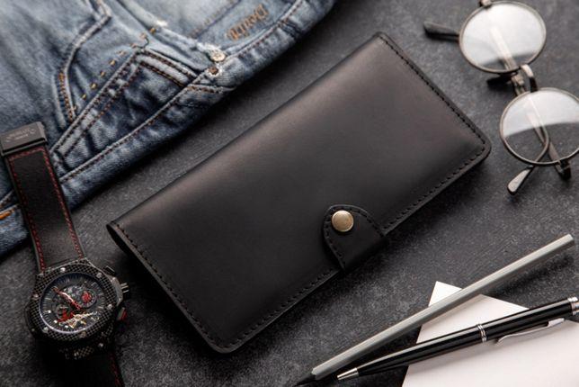 Портмоне кошелек клатч мужской черный кожа Long Wallet MenStuff Black